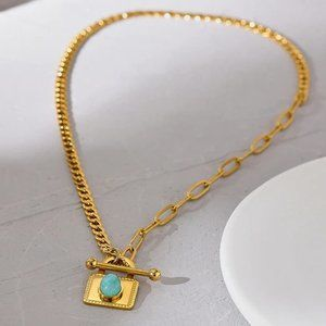NEW 18K Gold Plated Turquoise Lock Pendant Toggle Chunky Link Chain Necklave